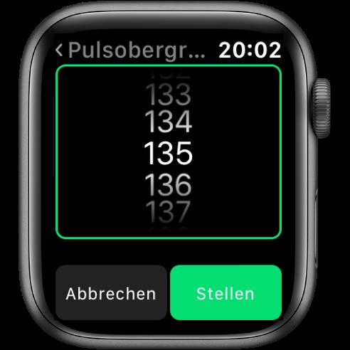 Einstellung der Pulsobergrenze aus der Pulsalarm App